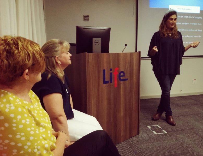 Emma Nummanoglu presenting a breastfeeding talk